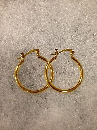 18k rose gold gp hoop earrings small hoops simple classic diamond cut AEIWO