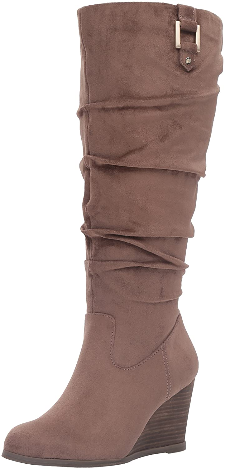 Dr. Scholl's Shoes Women's Poe Wide Calf Slouch Boot B01DF08ICS 8.5 B(M) US|Stucco Microsuede