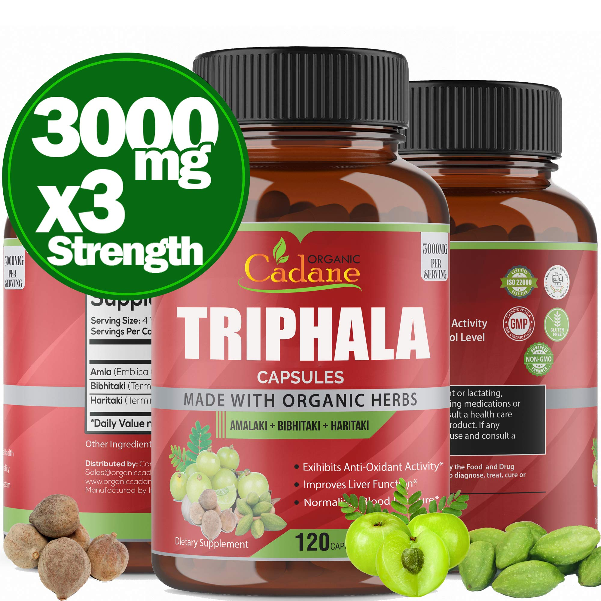 Organic India Triphala (3 Fruit Powders) 3000mg, 120 Veggie Capsules | Support Digestion, Colon Cleanser, Detoxification, Cleansing | Non-GMO Vegan Plus Digest Tone Herbs and Supplements