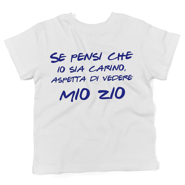 Baby T-shirt a maniche corte Se pensi che io sia carino, aspetta di vedere mio zio - maglietta divertente neonato LaMAGLIERIA BTEE-000120