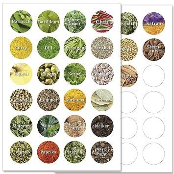 Wandkings Gewürzetiketten ø 4 Cm 48 Stück Kreisförmige Gewürzaufkleber Etiketten Sticker Aufkleber Für Gewürze Selbstklebend Auf 2 Din A4