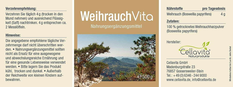 CELLAVITA   Weihrauch (Boswellia papyrifera)   Auf Schadstoffe und  Belastungen geprüft   4-Monatsvorrat 500g Pulver