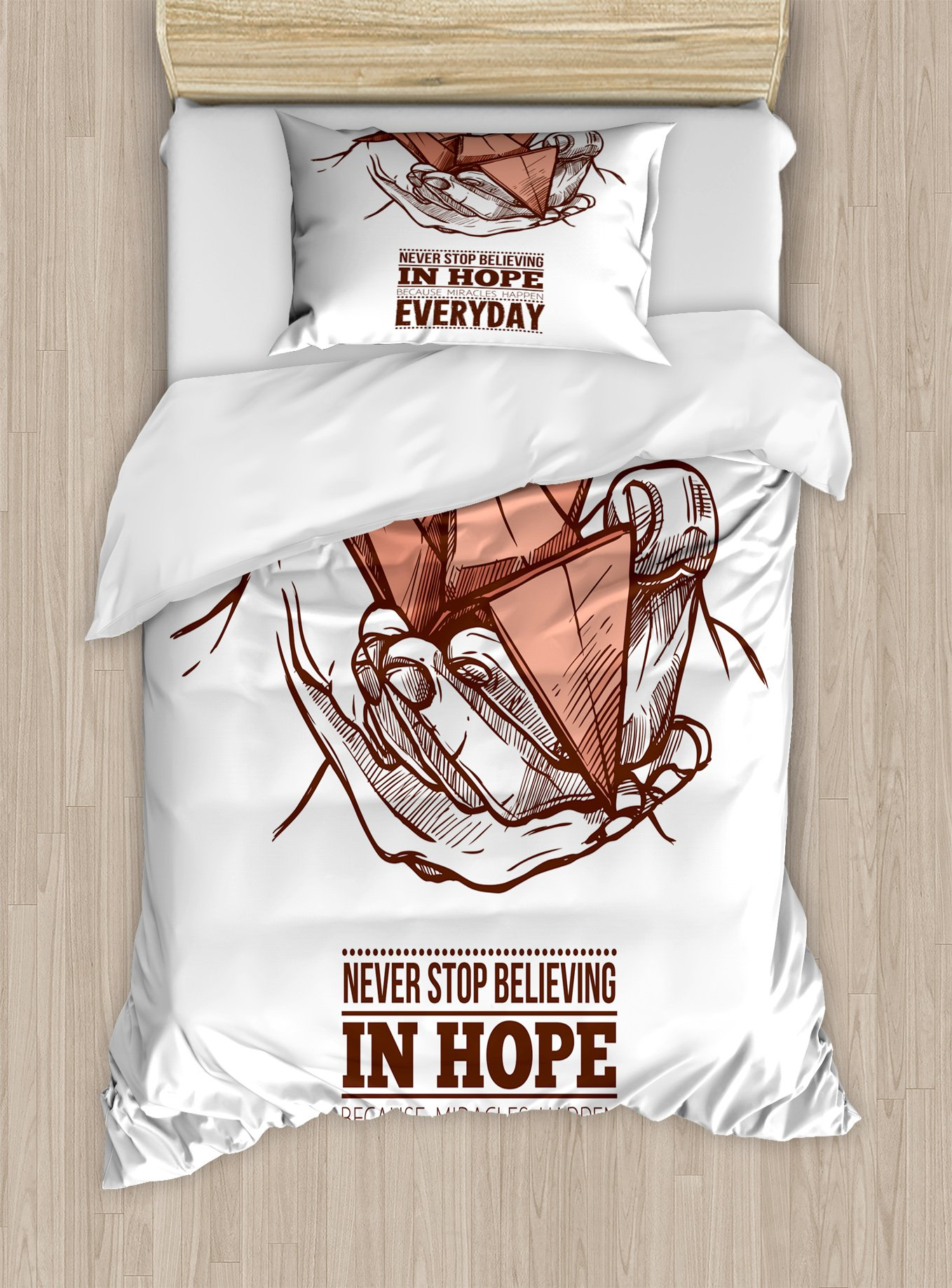 Ambesonne Hope Twin Size Duvet Cover Set, Hands Holding an Origami Crane with a Miracles Happen Everyday Quote, Decorative 2 Piece Bedding Set with 1 Pillow Sham, Pale Orange Brown White