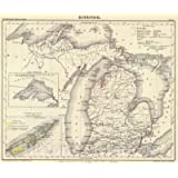Historic Map - National Atlas - 1854 Michigan. - Vintage Wall Art - 30in x 24in