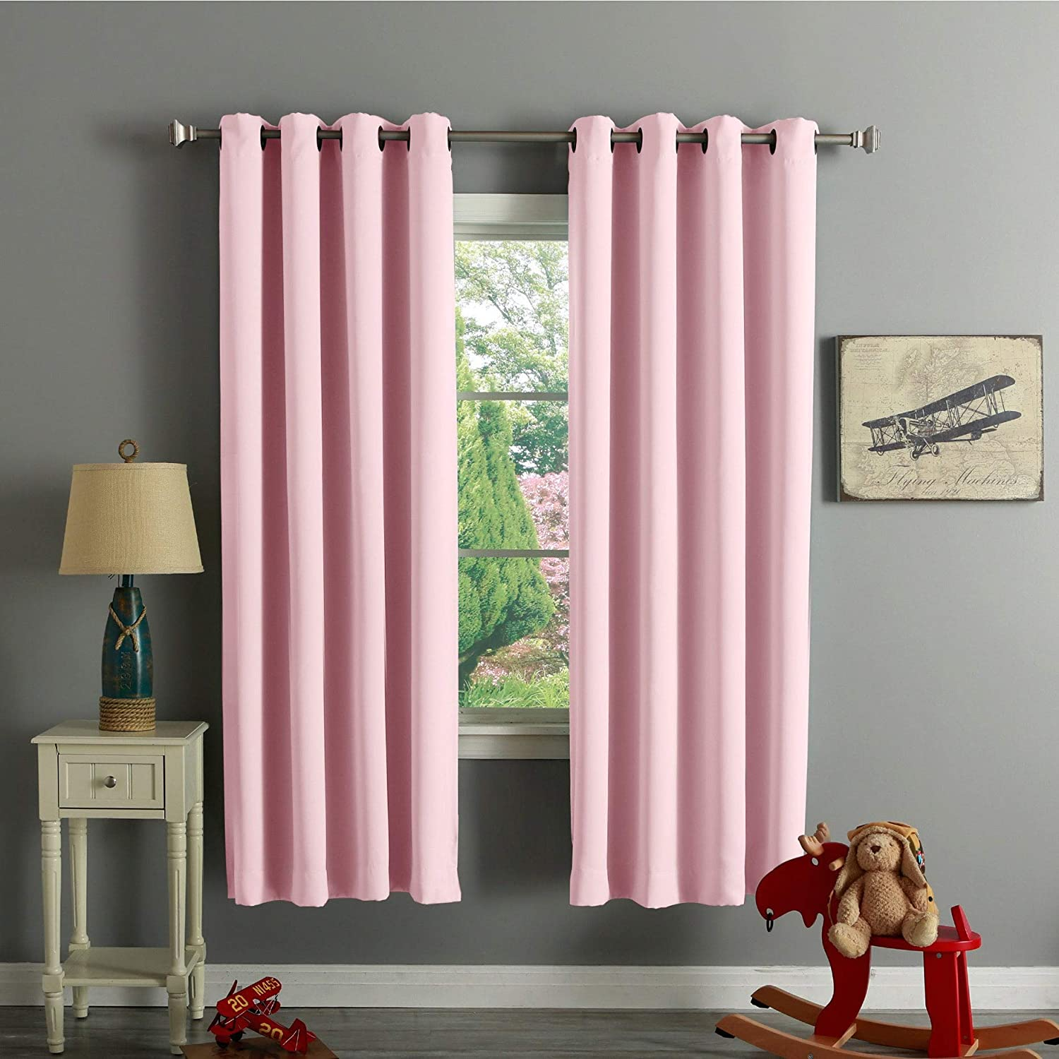 Aurora Home Thermal Insulated 72-inch Blackout Curtain Pair - 52 x 72-52 x 72 Light Pink
