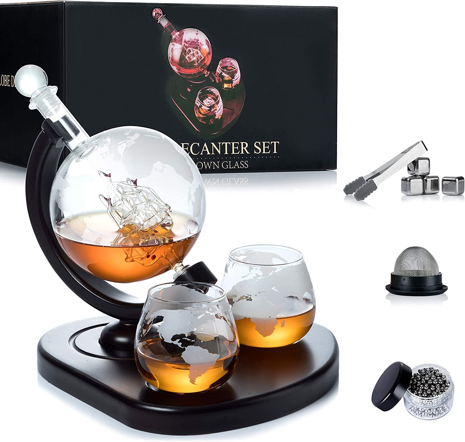 Weebng Whiskey Decanter Set Globe Wine Decanter Set With 2 Glasses Cleaning Beads 4 Stainless Steel Ice Cubes And Ice Tong Beverage Drink Liquor Dispenser Gift Set For Liquor Scotch Bourb Amazon Ca Home Kitchen