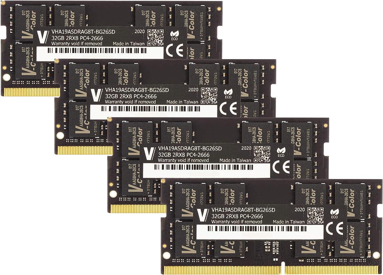 v-Color 128GB Kit (4 x32GB) 2666MHz (PC4-21300) DDR4 Memory Module for Apple iMac 2020 & 2019 Apple iMac 27