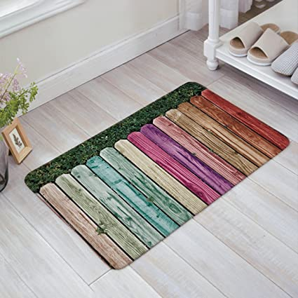 Bon Fantasy Star Colorful Wooden Fence Doormats Home Decorative Door Mats Non  Slip Backing Rubber Rugs Shoes