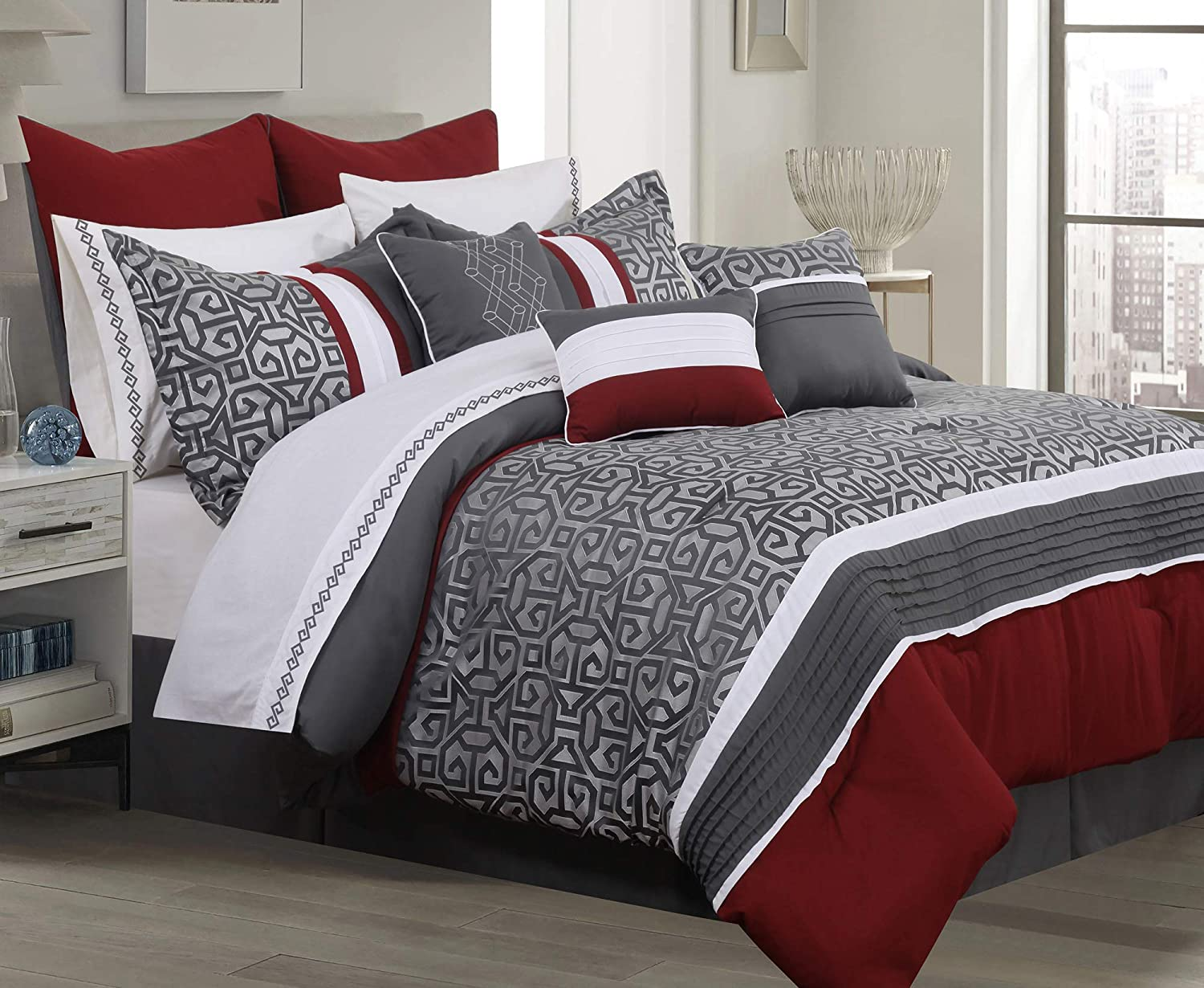 Safdie /& Co Luxury Set Comforter Queen Charcoal 7