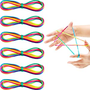 meekoo 6 Pieces Cats Cradle String String Hand Game Finger String Toy Supplies, 165 cm Length, Rainbow Color