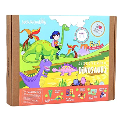 jackinthebox Dinosaur Themed Craft Kit and Educational Toy for Boys and Girls | 6 Activities-in-1 Kit | Great Gift for Kids Aged 5 to 8 Years Old | Learning Stem Toys (Dinosaur 6-in-1): Toys & Games