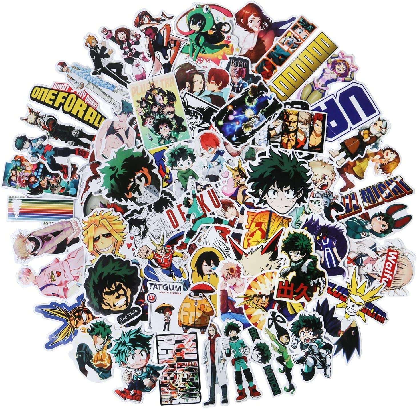 My Hero Academia Anime Stickers, 73 Pack Cartoon Vinyl Cute Laptop Stickers for Hydroflasks Car Skateboard Water Bottle Luggage Stickers for Teens, Girls