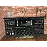 Dispensa bar per vini Opium Outlet con intagli in legno, realizzato in Cina Black