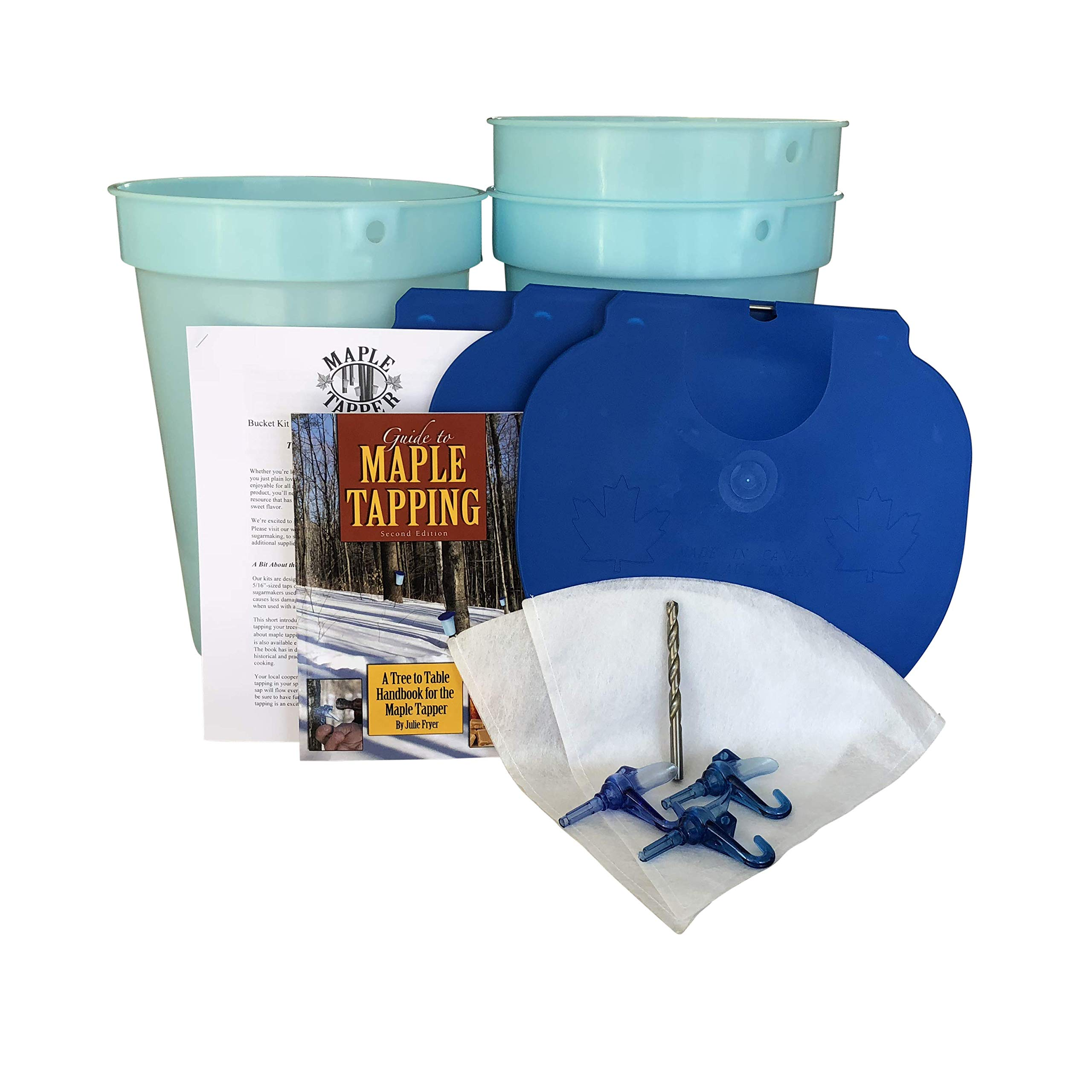 Deluxe Maple Tree Tapping Kit (Tap 3 Trees) Includes 3 Sap Buckets + Lids, 5/16 inch Tree Saver Taps Spiles, Syrup Filter, Tapping Drill Bit, and 80 Page Fully Illustrated Guide to Maple Tapping Book by Maple Tapper