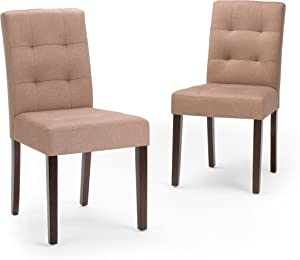 Simpli Home AXCDCHR-004-NL Andover Contemporary Dining Chair (Set of 2) in Natural Linen Look Fabric