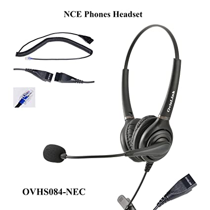 OvisLink Dual Ear NEC SL1100 headset   Noise Cancelling Microphone headset  compatible with all NEC telephones   RJ9 headset Quick Disconnect cord