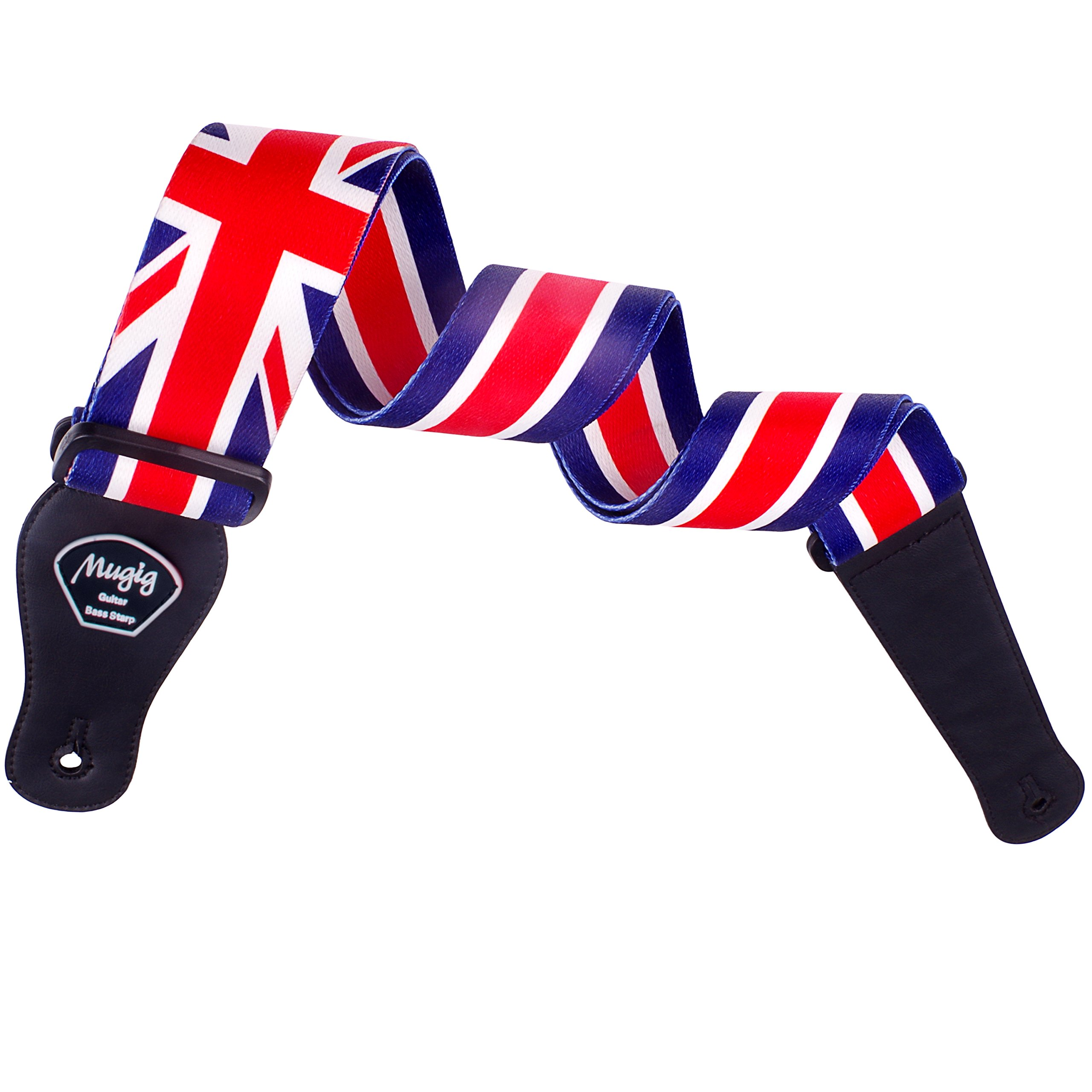 Mugig Guitar Strap, Adjustable Soft Cotton Strap, Union Jack Guitar & Bass Strap National Flag Design,5cm Width with Pick Pocket (UK)