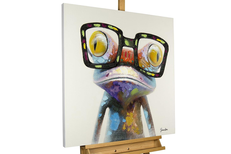 KunstLoft® Acryl Gemälde 'Sei kein Frosch' 80x80cm | original handgemalte Leinwand Bilder XXL | Cooler bunter Frosch mit Brille für Mädchen & Jungen | Wandbild Acrylbild Moderne Kunst mit Rahmen