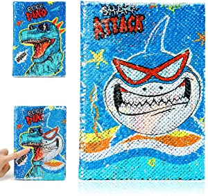 Cherry & Small Peas Sequin Shark Notebook Diary for Boys, Magic Reversible Sequin Monsters Journal Notebook for Drawing Writing, Birthday Gift for Kids, 160 Pages