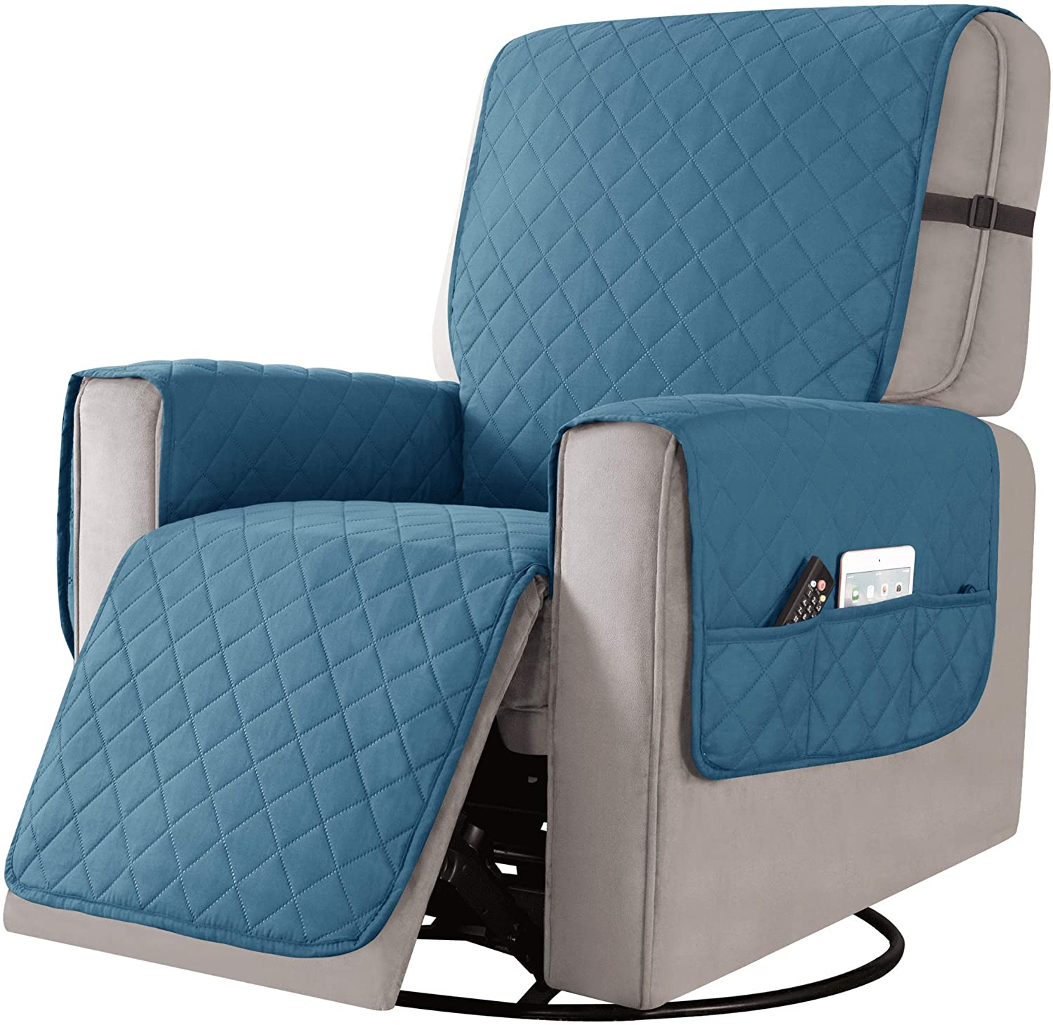 CHUN YI Recliner Chair Slipcover 25 Inch Reversible Small Sofa Cover with Elastic Straps Washable Armchair Couch Cover Furniture Protector for Kids Pets(Small, Turquoise)