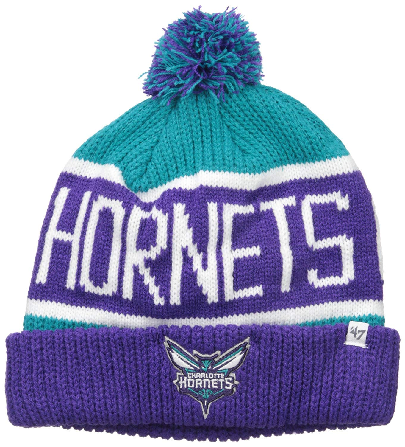 '47 Charlotte Hornets Vintage Calgary Beanie Hat with Pom - NBA Cuffed Winter Knit Toque Cap