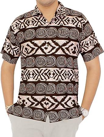 LA LEELA Shirt Camisa Hawaiana Hombre XS - 5XL Manga Corta Delante de Bolsillo Impresión Hawaiana Casual Regular Fit Camisa de Hawaii Rojo: Amazon.es: Ropa y accesorios