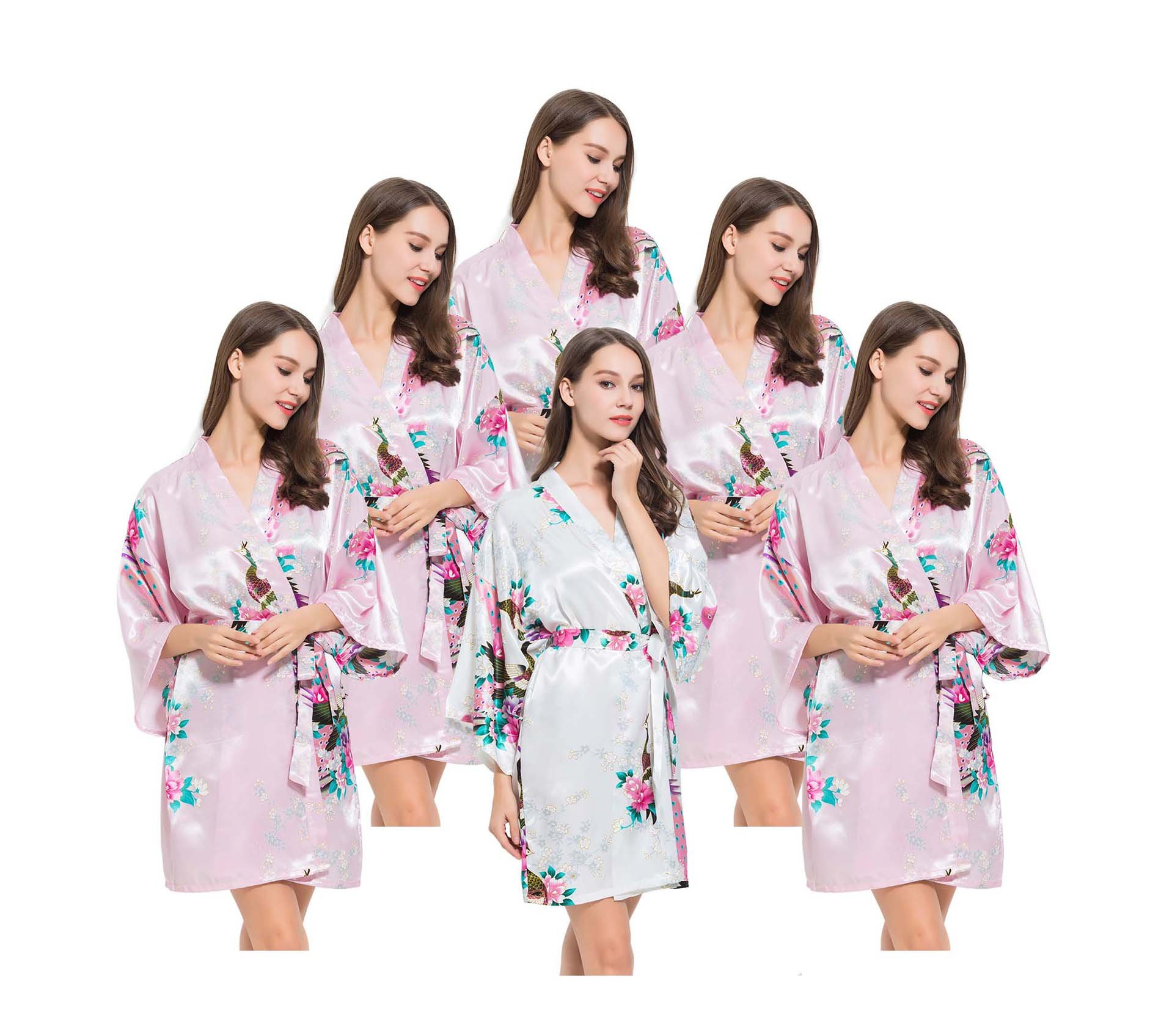 6 Floral Peacock Satin Bridesmaids Robes, OSFM fits Sizes 0-14, 5 Pink, 1 White, by Modern Celebrations