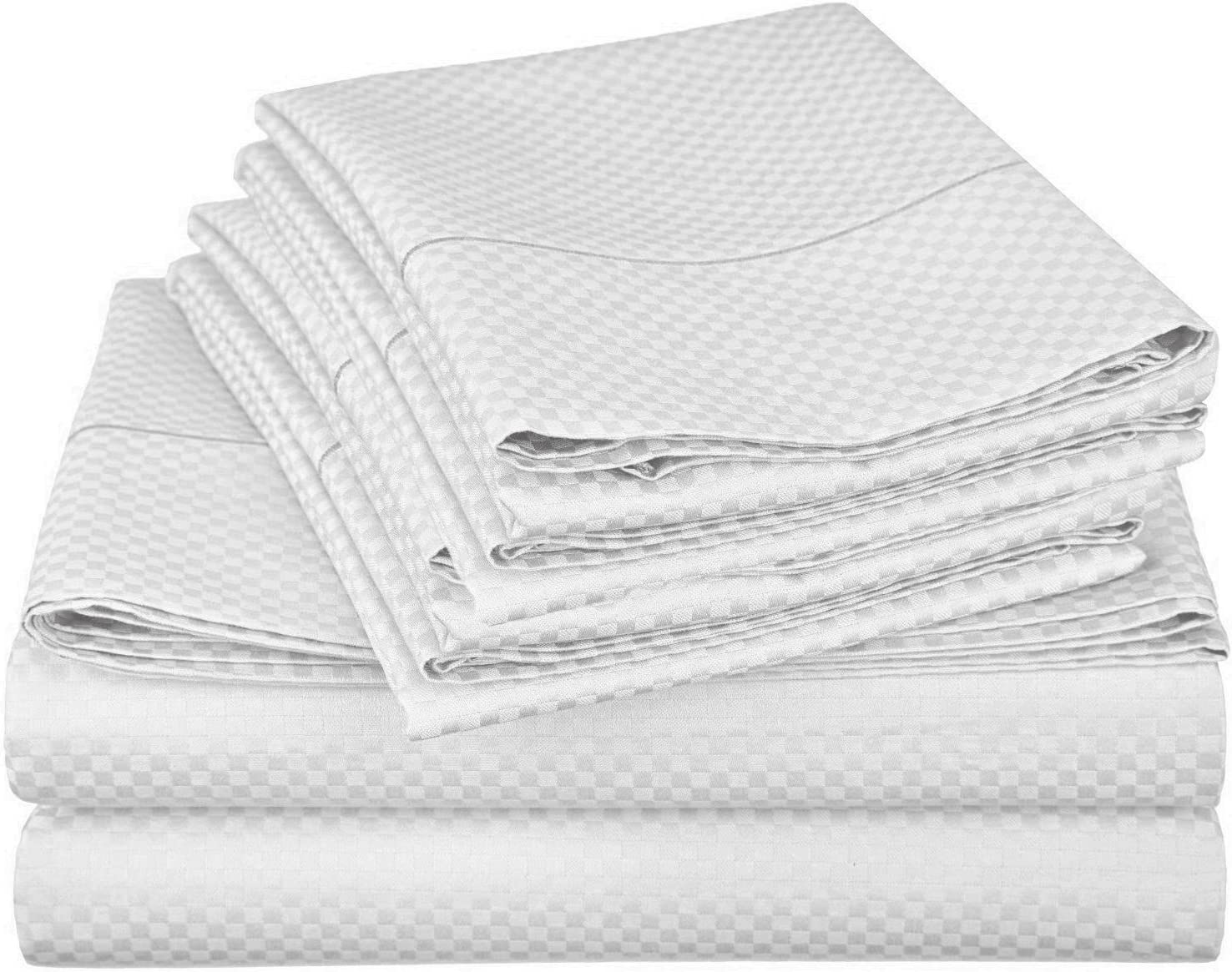 Lux Decor Collection Bed Sheet Set - Brushed Microfiber 1800 Bedding - Wrinkle, Stain and Fade Resistant - Hypoallergenic - 4 Piece (Queen, Checkered White)