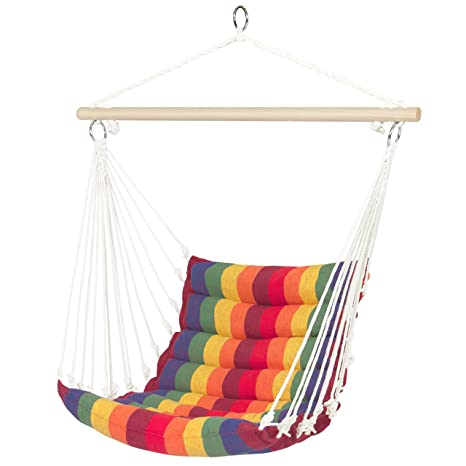 Exceptional Best Choice Products Deluxe Padded Cotton Hammock Hanging Chair Indoor  Outdoor Use  Rainbow Multicolor