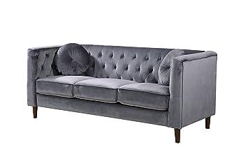 Container Furniture Direct S5374-S Kitts Velvet Upholstered Modern  Chesterfield Sofa, Gray