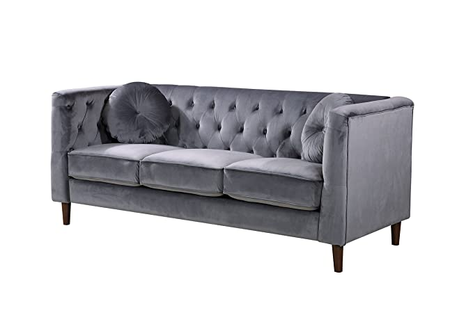 Container Furniture Direct S5374-2PC Kitts Velvet Upholstered Modern Chesterfield Sofa Set, 78
