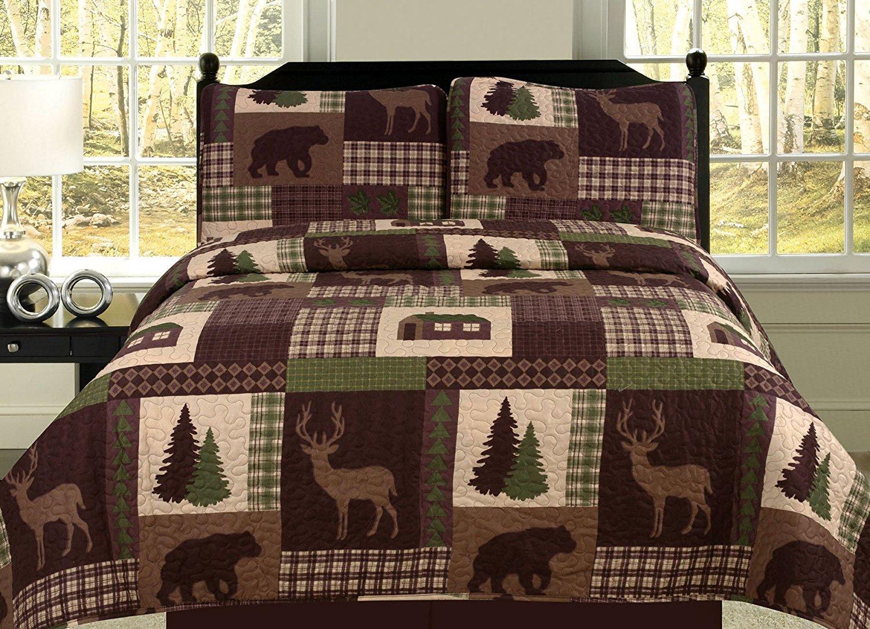 Full/Queen Quilt 3 Piece Set Rustic Cabin Lodge Deer and Bear Coverlet Bedspread by HowPlumb
