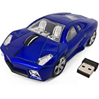 Computer Mouse Blue Lamborghini Sports Car 2.4Ghz Wireless Optical Gaming Mouse, 3 Buttons 1600DPI USB Receiver for Mac…