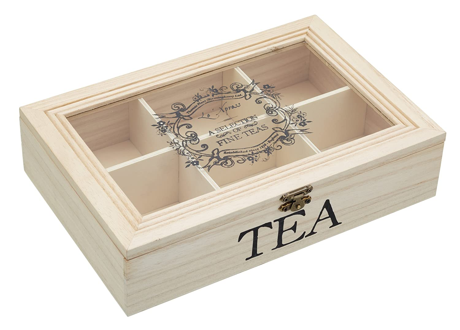 KitchenCraft Le'Xpress Wooden Tea Chest (Box with 6 Compartments), 26 x 17 x 6 cm by KitchenCraft Kitchen Craft Le'Xpress KCLXTEABOX