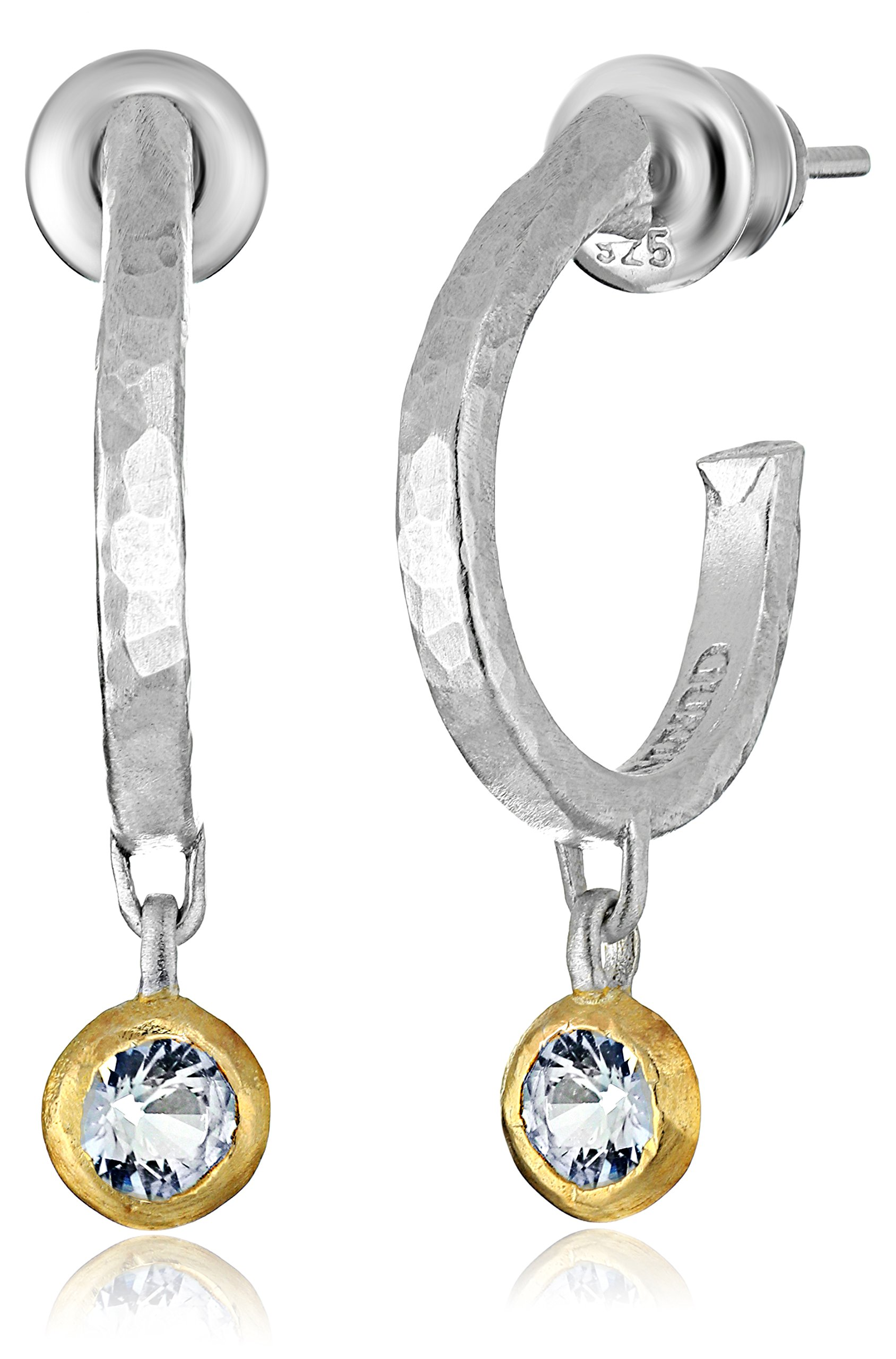GURHAN ''Skittle'' Sterling Silver White Sapphire Hoop Earrings