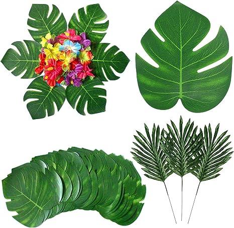 3 designs-Neuf-Filaire Tiges XXL Tropical Feutre Feuilles vertes-fait main