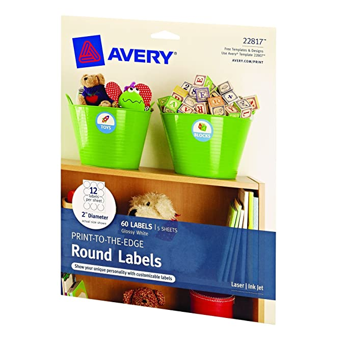 Amazon.com : Avery Print-to-the-Edge Round Labels, Glossy White, 2 ...
