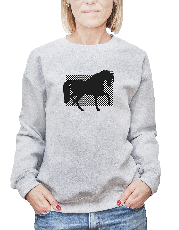 Mesdames Sweatshirt avec Beautiful Black Horse Illustration imprimé.