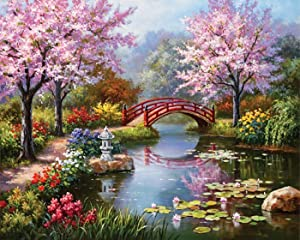 eGoodn Diamond Painting Art Kit DIY Cross Stitch by Number Kit DIY Arts Craft Wall Decor, Full Drill 19.7 inches by 15.8 inches, Sakura Garden, No Frame