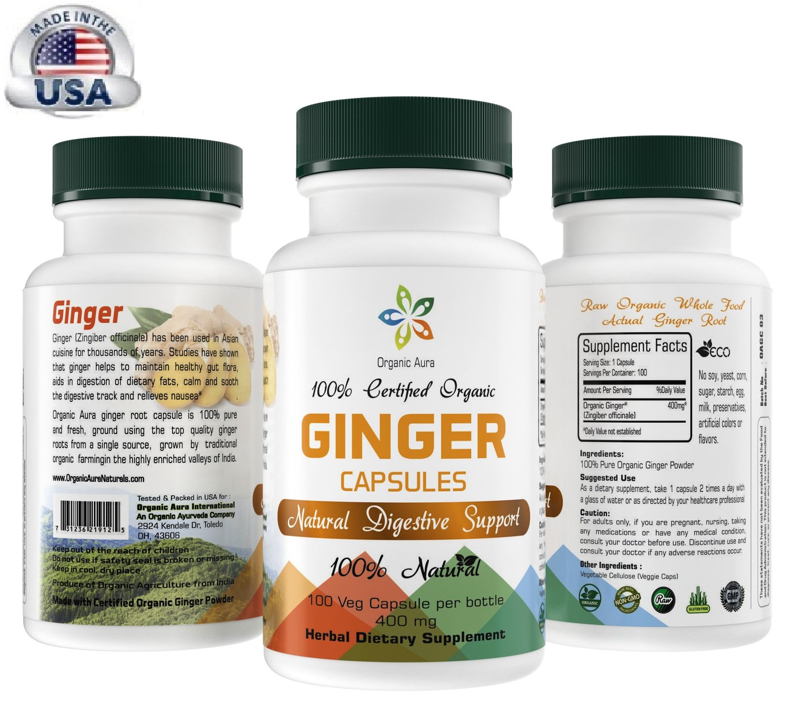 Certified Organic Ginger Capsules. Easy Swallow Veg Capsules. Natural Digestive Support. Enhances overall Health and Vitality. 100% All Natural, Raw and Original.
