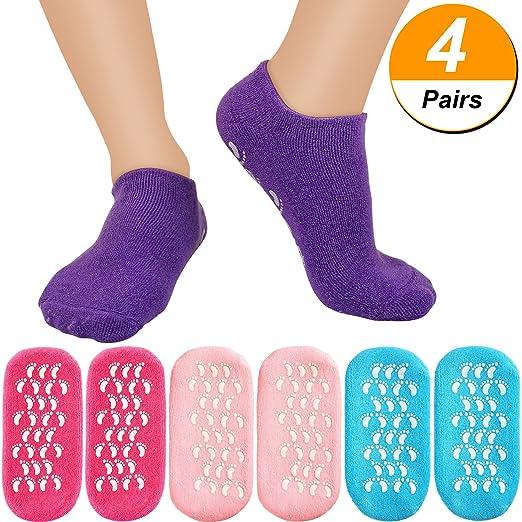 Bememo 4 Pairs Moisturizing Gel Socks Soft Spa Gel Socks for Repairing and Softening Dry Cracked Feet Skins (Pink, Rose Red, Blue and Purple)