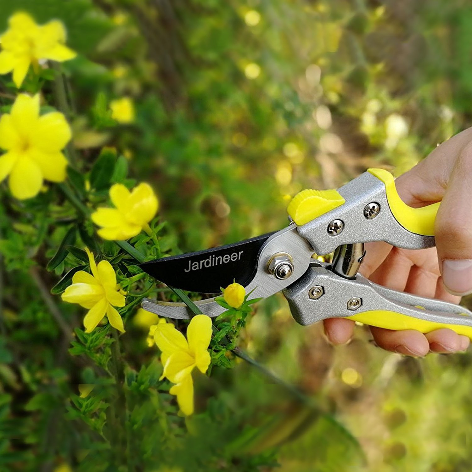 Jardineer Sharp and Durable Hand Bypass Pruners with Safety Lock, Tree Trimmers Secateurs, Garden Pruning Shears for Live Green Plants, Perfect Garden Clippers by Jardineer (Image #5)