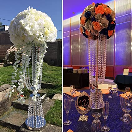 2 Pcs 31.5\u0026quot; Tall Acrylic Imitation Crystal Candle Holder Stand Gold/Silver Flower Vase & Amazon.com: 2 Pcs 31.5\