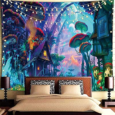 3D Wonderland Tapestry Wall Hanging Forest Flowers Wall Tapestry Home Art Decor