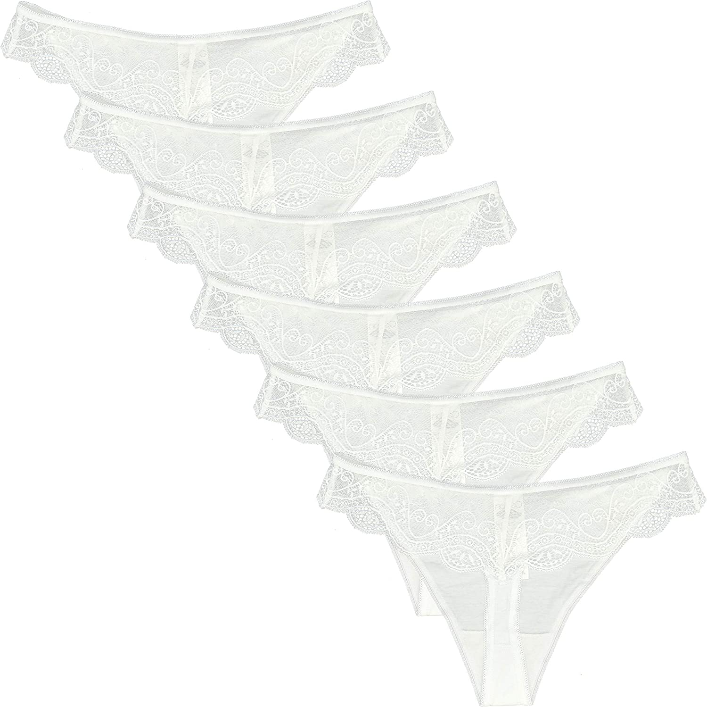 Women/'s Underwear Cotton Lace Trim Thong Panties Pack