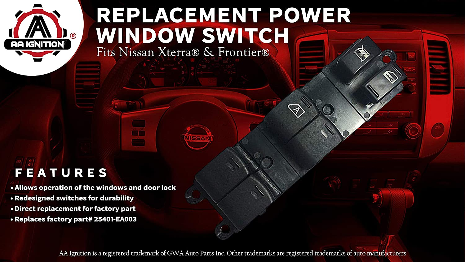 Power Window Switch Fits Nissan Frontier Xterra 2008 Wiring Diagram Light Replaces 25401 Ea003 2005 2006 2007 2009 2010 2011 2012 Models Driver
