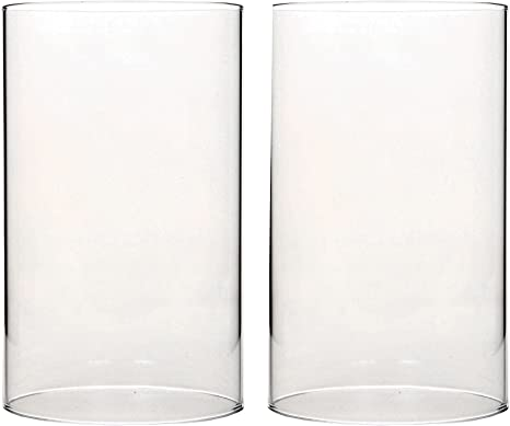 Amazon Com Hosley Set Of 2 7 Inch High Clear Glass Hurricane Candle Holder Or Sleeve Wonderful Accent Piece For Coffee Or Side Tables Ideal Gift For Weddings Home And Events O9 Kitchen