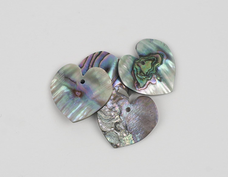 Abalone - Corazones de concha (1 pulgada, 1 agujero, 4 piezas ...
