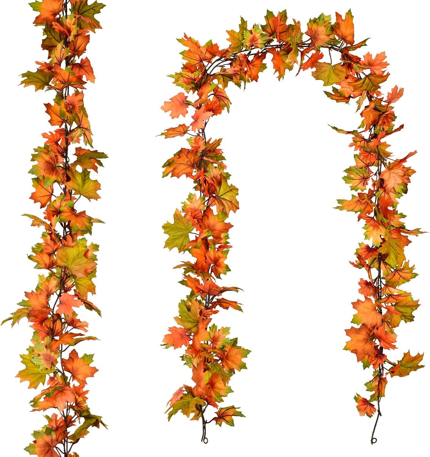 2 Pack Fall Garland Maple Leaf, 6.5Ft/Piece Hanging Vine Garland Artificial Autumn Foliage Garland Thanksgiving Decor for Home Wedding Fireplace Party