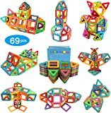 Magnetic Building Blocks Tiles Early Learning Educational Construction Stacking Toys with Storage Bag for Boys and Girls -69 PCS.Great Christmas Gift for Kids